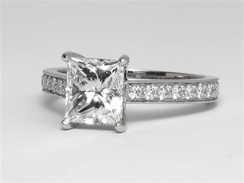 Platinum 2.00 Princess cut Micro Pave Ring