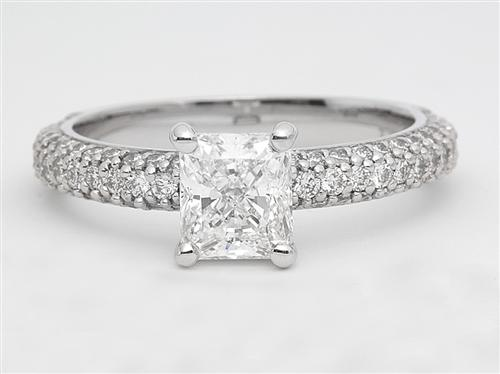 White Gold 1.04 Radiant cut Pave Ring