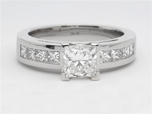 Platinum 1.11 Princess cut Engagement Ring Side Stones
