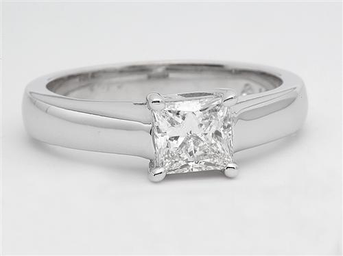 White Gold 0.69 Princess cut Diamond Solitaire Ring Settings