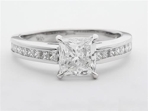White Gold  Engagement Ring With Sidestones