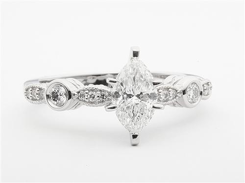 Platinum 0.92 Marquise cut Diamond Ring With Sidestones
