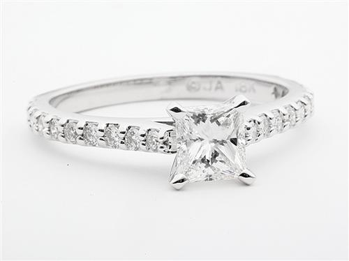 White Gold 0.66 Princess cut Sidestone Engagement Ring