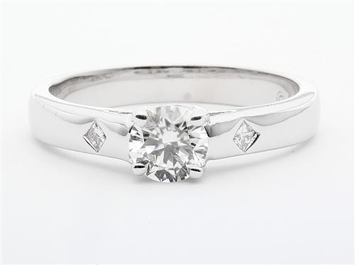 White Gold 0.50 Round cut Diamond Solitaire Rings
