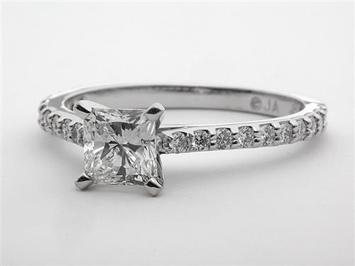 White Gold 0.88 Radiant cut Side Stone Engagement Ring