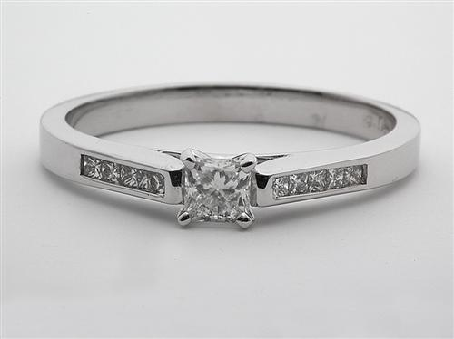 White Gold 0.35 Princess cut Diamond Rings With Side Stones
