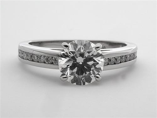 Platinum  Sidestone Engagement Ring