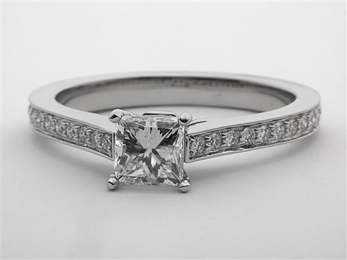 Platinum 0.70 Princess cut Pave Rings