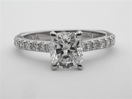 Platinum 1.51 Cushion cut Diamond Ring With Sidestones