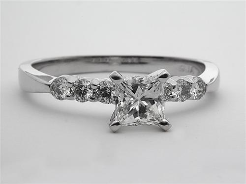 White Gold 1.01 Princess cut Engagement Ring With Sidestones
