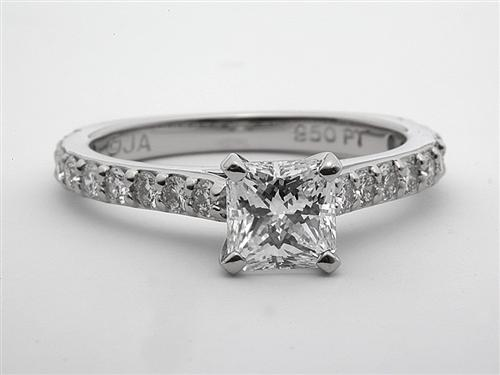 Platinum 1.00 Radiant cut Sidestone Engagement Ring