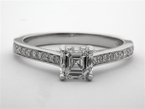 Platinum 1.09 Asscher cut Pave Ring