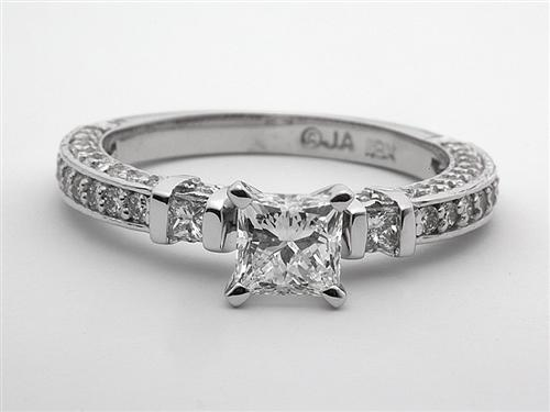 White Gold 0.86 Princess cut Engagement Ring
