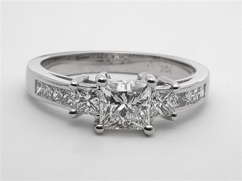 White Gold 1.04 Princess cut Diamond Ring