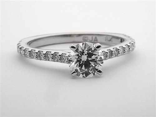 White Gold 0.85 Round cut Diamond Ring With Sidestones
