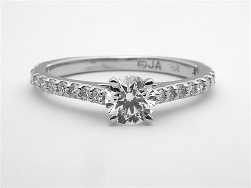 White Gold 0.57 Round cut Engagement Ring