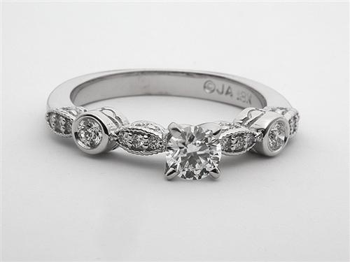 White Gold 0.34 Round cut Engagement Rings Side Stones