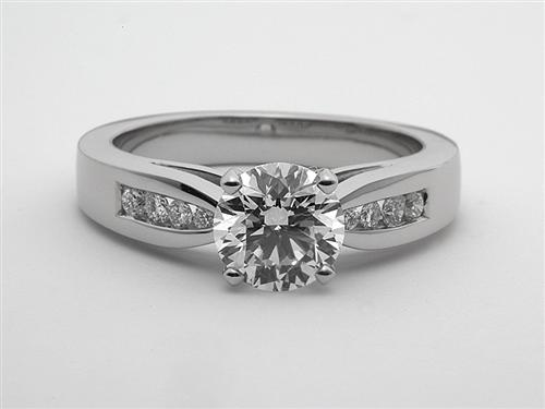 Platinum 1.10 Round cut Engagement Rings