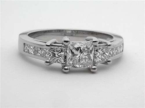 Platinum 0.75 Princess cut Side Stone Engagement Rings