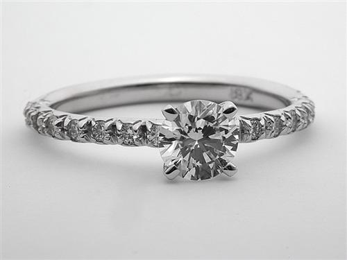 White Gold 0.75 Round cut Pave Diamond Engagement Ring