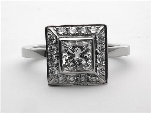 Platinum 0.84 Princess cut Pave Engagement Ring
