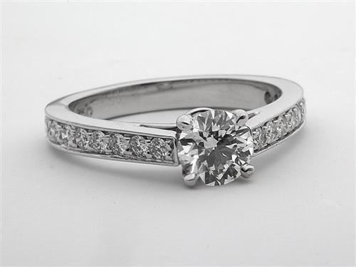 White Gold 0.71 Round cut Pave Ring Setting