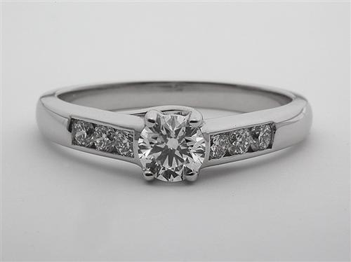 White Gold 0.44 Round cut Engagement Ring With Sidestones