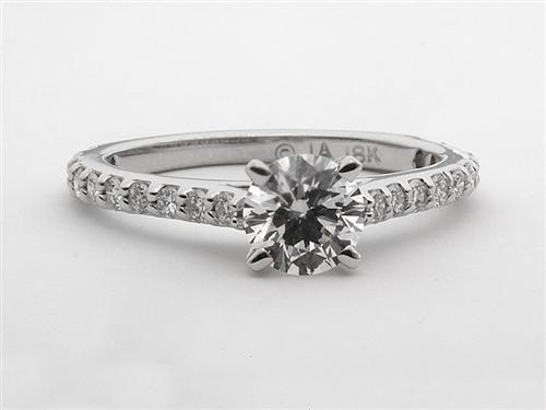White Gold 0.64 Round cut Sidestone Engagement Ring