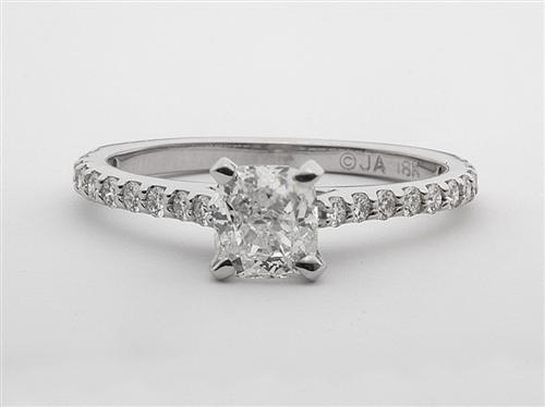 White Gold 0.91 Cushion cut Side Stone Engagement Rings