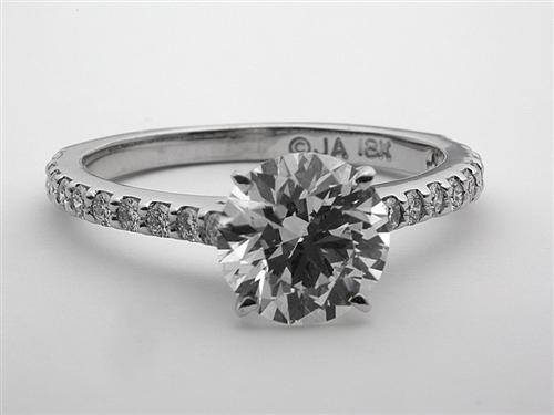 White Gold 1.74 Round cut Engagement Ring Side Stones