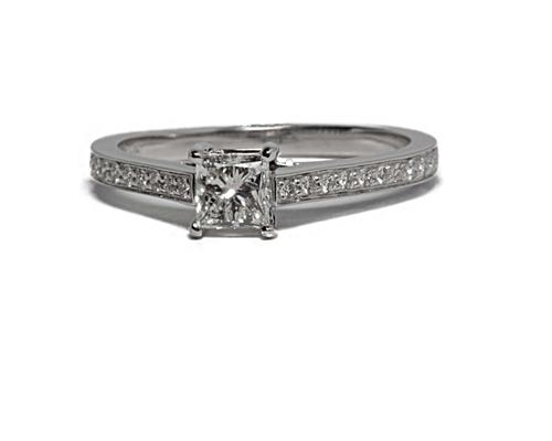 White Gold 0.56 Princess cut Pave Ring Settings
