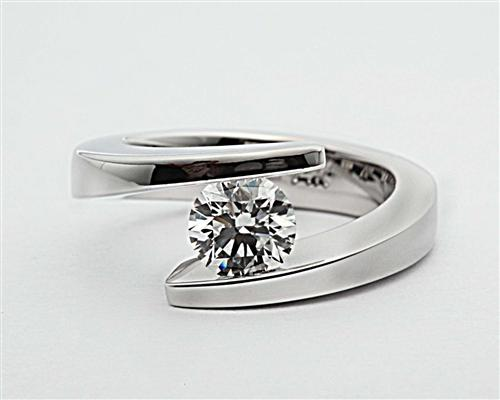 White Gold 0.83 Round cut Tension Diamond Rings