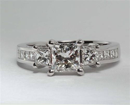 White Gold 0.85 Princess cut Princess Cut Engagement Rings With Side Stones
