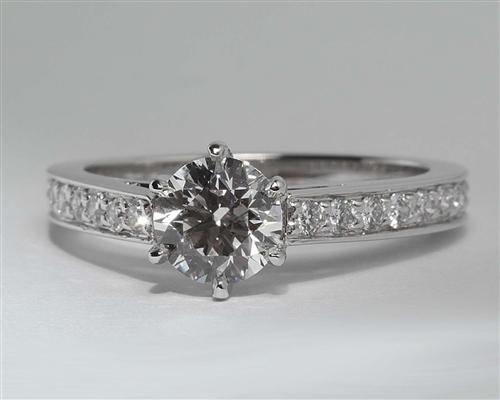 White Gold 0.84 Round cut Pave Diamond Rings