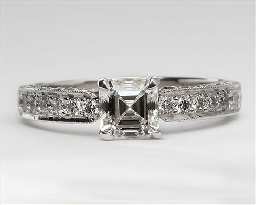 White Gold 1.00 Asscher cut Micro Pave Rings