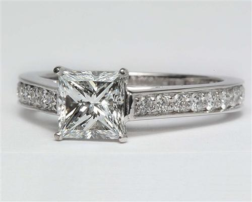 White Gold 1.15 Princess cut Pave Ring