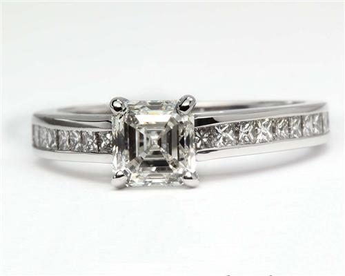 White Gold 0.83 Asscher cut Diamond Rings With Side Stones