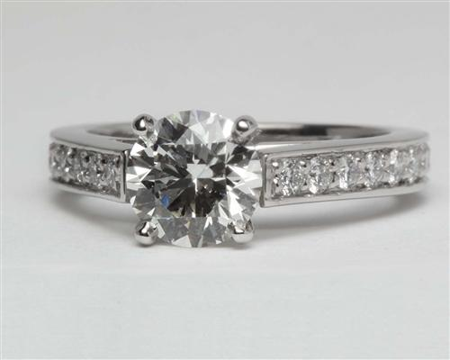 Platinum 0.96 Round cut Pave Engagement Ring