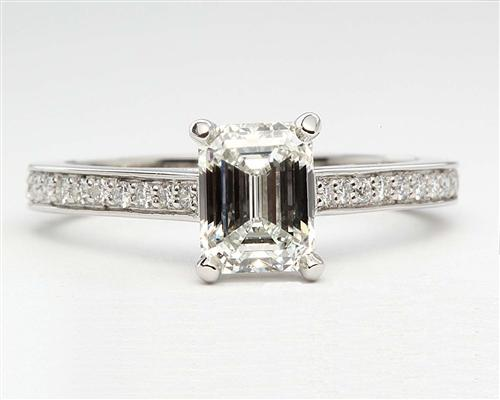 Platinum 1.23 Emerald cut Pave Ring Settings