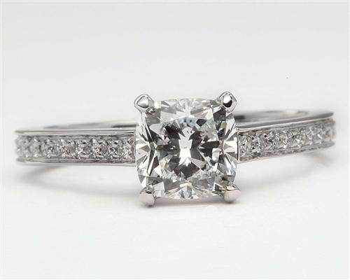 White Gold 1.07 Cushion cut Pave Diamond Engagement Rings