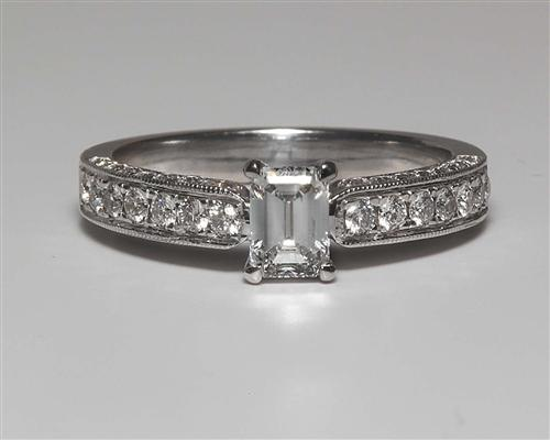 White Gold 0.52 Emerald cut Diamond Ring