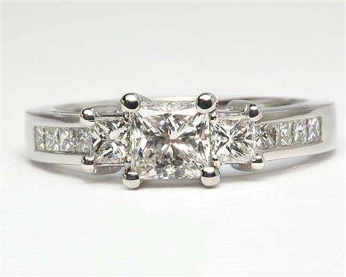 Platinum 0.80 Princess cut Diamond Ring With Side Stones