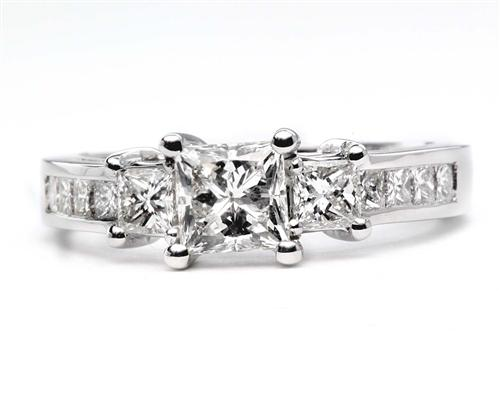 White Gold 0.73 Princess cut Engagement Rings