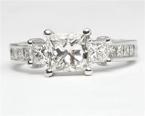 White Gold 1.07 Princess cut Diamond Ring With Sidestones