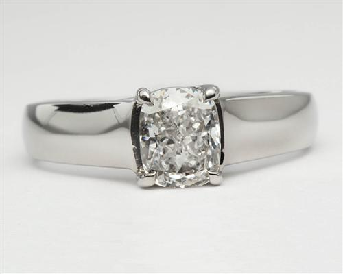 Platinum 1.00 Cushion cut Solitaire Engagement Ring