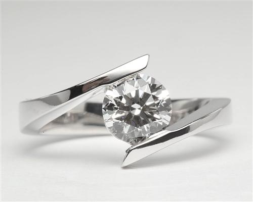 White Gold 1.03 Round cut Engagement Rings