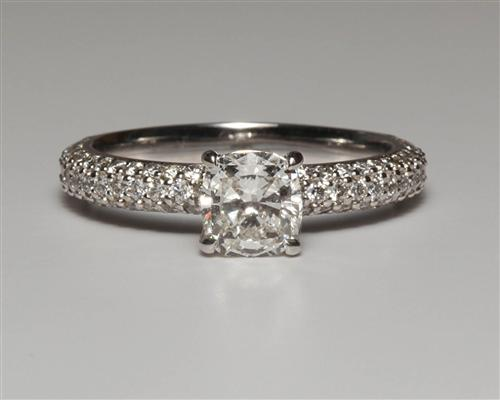 White Gold 1.00 Cushion cut Diamond Pave Ring