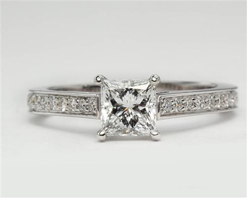 White Gold 0.72 Princess cut Pave Ring Mountings