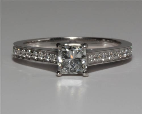 White Gold 0.55 Princess cut Pave Ring