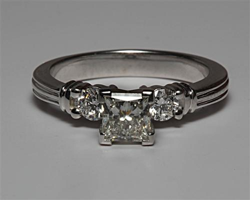 White Gold 0.55 Princess cut Engagement Ring With Side Stones